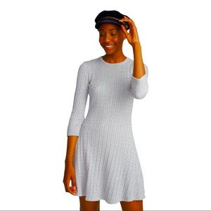 TWIK Light Grey Mini Cable Knit Fit and Flare Sweater Dress Size Petite Small